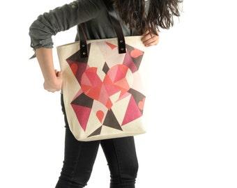 Pink Geometric Beach Bag Tote Bag