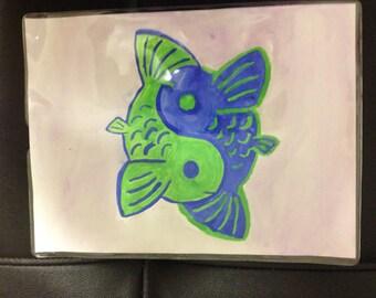 Blue & Green Yin-Yang Koi Fish Watercolor Painting
