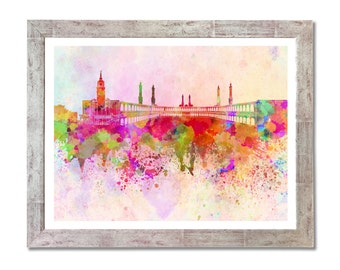 Mecca skyline in watercolor background - SKU 0073
