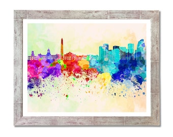 Buenos Aires skyline in watercolor background- SKU 0154
