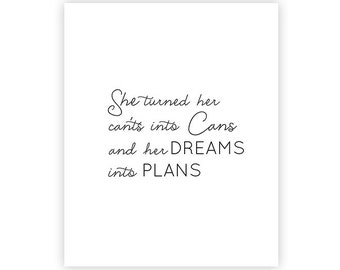 8x10 INSTANT DOWNLOAD Art Print - Dreams into Plans