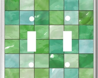Image of Green  Tile Shades of Green  Light Switch Cover Plate or Outlet Home  Decor  Free Shipping in U.S.!!
