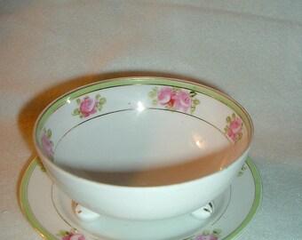 Vintage Handpainted Nippon Footed Sauce Bowl & Plate