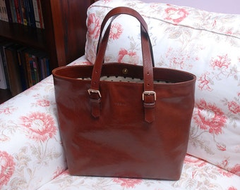 Cognac Brown Leather Tote, Handmade Leather Bag, Brown Leather Tote Bag, Cognac Leather Bag