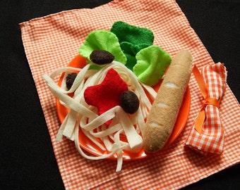 Felt Spaghetti Dinner - Imagination Toy, Pretend Play, Dramtic Play, Play Food, Felt Food