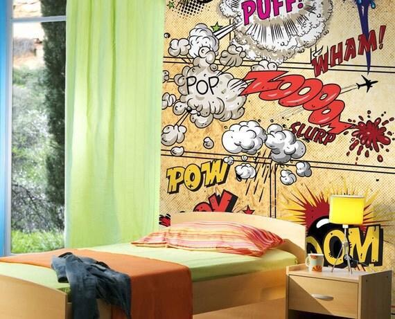 Items similar to jp london ustrip peel and stick retro for Comic book mural
