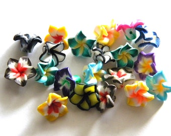 6 Polymer Clay Flower Beads