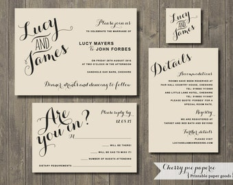 Printable Wedding Invitation Set - Invite, RSVP Card, Details Card and Monogram - Lucy