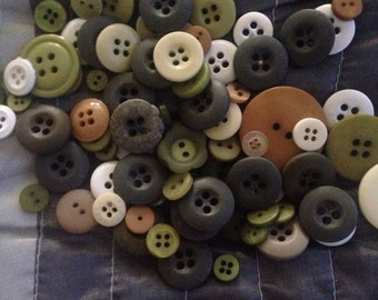 Giant bag of Camoflague colored buttons