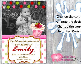 Cupcake party invitation birth announcement party printable