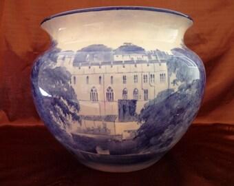 19c signed W BROWN Doulton Burslem Pottery Large Cache Pot JARDINIERE of Warwick Castle, England