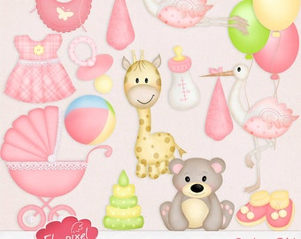 Baby Girl Elements - Clipart - Embellishments - Small Commercial Use - Instant Download