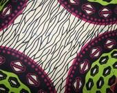 "African Dutch Wax Fabric Pink Green 100% Cotton/Sold Per Yard/ 45"" wide/Ankara/African Fashion/Head Wraps/Home Decor/Upholstery"