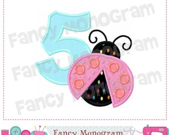Birthday Lady bug number 5,Birthday Number 5 applique , 5 applique,Number design,Embroidery machine