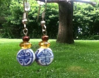 Blue scribble earrings