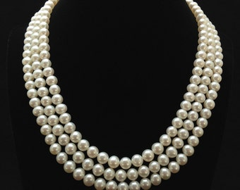 Triple Strand Pearl Necklace, Genuine Pearl Necklace, AAA+ Pearl Necklace, Freshwater Pearl Necklace