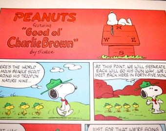 Scouts, Snoopy comic, Woodstock, Peanuts Comic Strip, Retro, Nostalgic Cartoon of the 1960's,Charles M Schulz, Frame as you like, Wall Decor