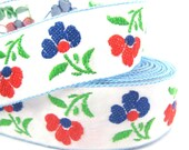 "1 1/4"" Wide Blue and Red Floral Embroidered Woven White Fabric Ribbon Lace 