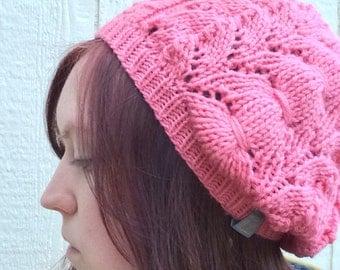 Pink handknit beanie