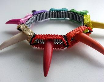 Rainbow's Revenge Bangle, Colourful beadwoven geometric bracelet with spikes, Spike Bangle, Geometric Beadwork, Rainbow Bangle