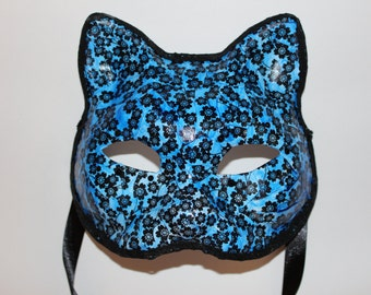 Cat mask blue sakura cherry blossoms with black diamonds and trim