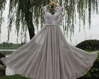 100% Handmade lace chiffon prom dress,gray prom dress/evening dress,gray formal dress,bridesmaid dress