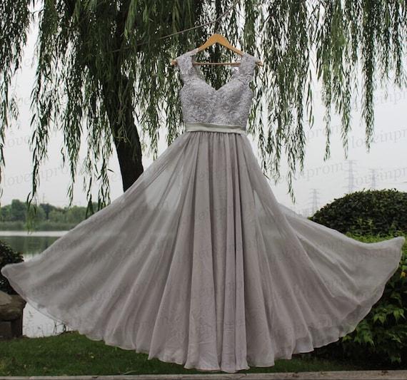 100% Handmade lace chiffon prom dressgray prom by loveinprom