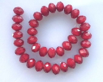 "16"" Faceted Ruby Quartz 15MM Rondelle Beads"