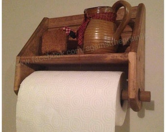 Handmade primitive wooden paper towel holder, Works great on the kitchen wall for an extra shelf as well
