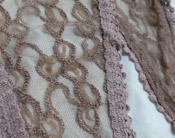 Long Kerchief Khaki Lace with edging