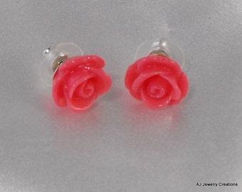 Pink Resin Rose Earrings - Sterling Silver Earrings (BD-539)