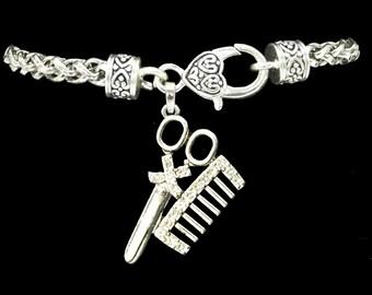 Hair Stylist Comb and Scissor Rhinestone Charm Bracelet