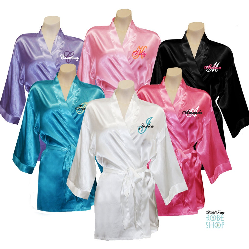 Set Of 8 Personalized Satin Bridal Party Robes With Single