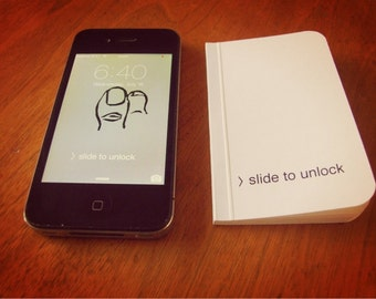 Tiny iPhone Notebook, Pocket Journal, Original Handmade Tiny Diary and Jotter, Slide To Unlock Geekery, Blank Paper Notebook