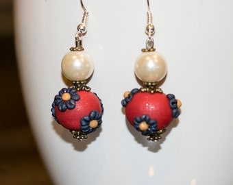 Handmade red daisy pearlescent  polymer clay applique earrings