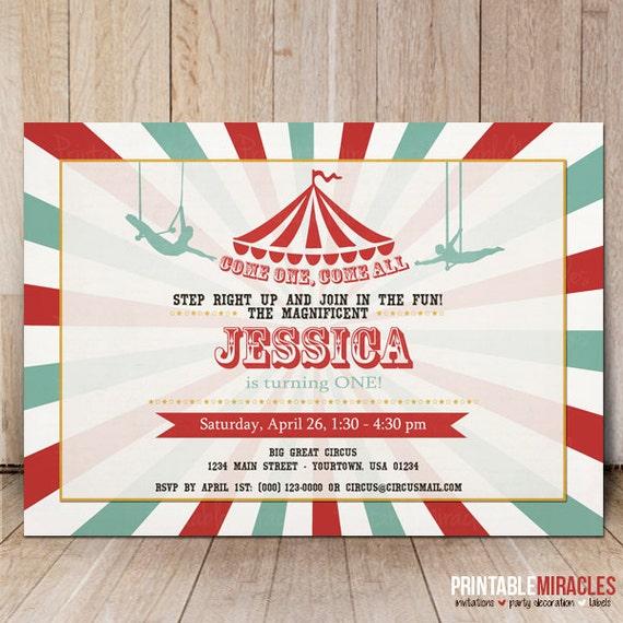 Trapeze invitation Printable circus birthday invite card – Circus Party Invites