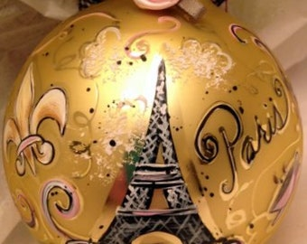 Hand Painted Ornaments by Les ~ Paris Eiffel Tower ~ Original Ornament