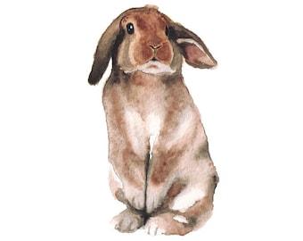 Watercolor Bunny 2- art print nursery art watercolor rabbit woodland children's art animal art animal watercolor brown black white 5x7+
