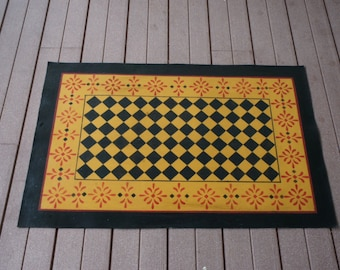 Hand painted and stenciled floorcloth, canvas rug