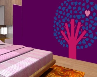 CREATIVE DESIGN: TREE with Hearts Leaves Wall Decal Art Home Deco Vynil Kids Baby Bedroom children room