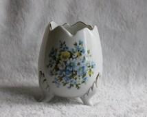 Vintage Porcelain Egg Vase, 3 Footed Blue & Yellow Floral Design, Candle Votive Planter, Made in Japan