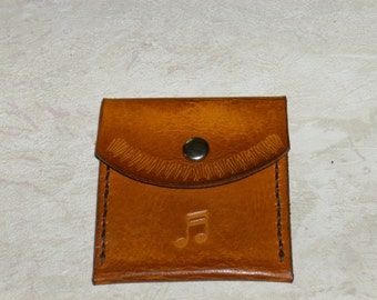 """Guitar Pick Case, Leather, handmade,tooled and stitched. 2 3/4"""" x 2 3/4"""" Yellow Sunburst"""