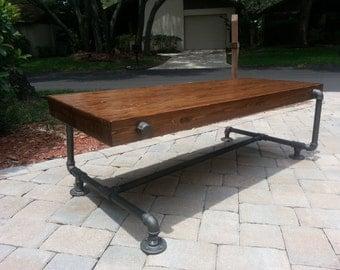 Industrial Iron Pipe Cedar Wood Coffee Table Unique Design