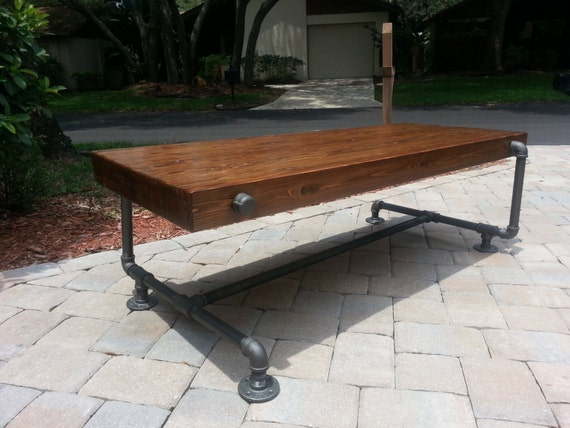 Industrial Iron Pipe Cedar Wood Coffee Table Unique Design