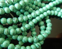 180 beads - 4mm faux turquoise beads made of glass with crack imprint