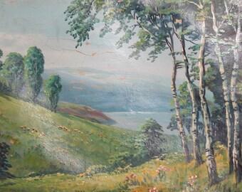 Impressionism Mountain Landscape Antique Oil Painting