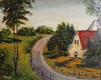 1962 Oil Painting Village Road Landscape Signed