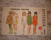 Vintage Butterick Pattern 4848 Girl's Size 2 One Piece Dress Uncut