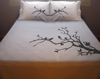 Tree Branch Bird Duvet Cover Queen Bedding King Twin Size, Cotton Duvet Cover, King Bedding, Twin Bedding, Kids Queen Duvet Cover, Sheet Set