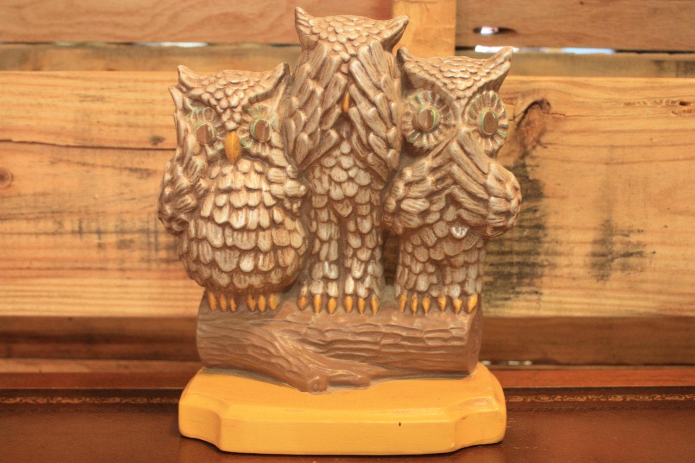 Arnel 39 s hear no evil see no evil speak no evil ceramic - Hear no evil owls ceramic ...